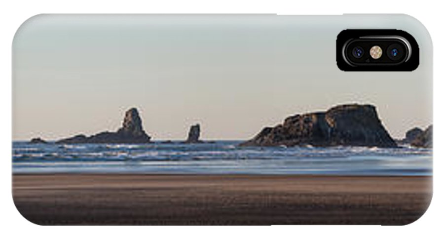 Haystack Rock IPhone X Case featuring the photograph Cannon Beach Vast Coastline by Mike Reid