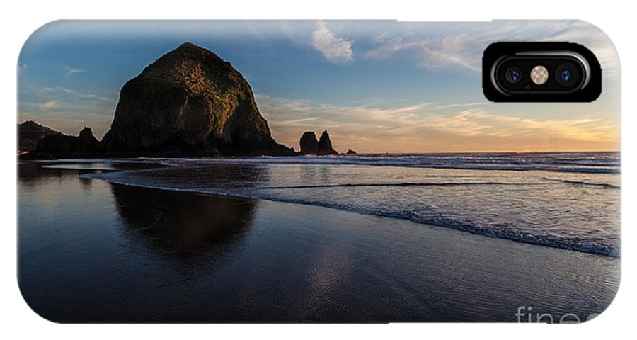 Haystack Rock IPhone X Case featuring the photograph Cannon Beach Waves Rhythms by Mike Reid