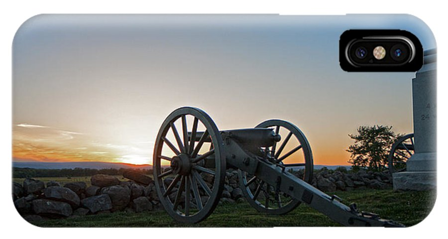 Gettysburg IPhone X Case featuring the photograph Cannon On Cemetery Ridge Gettysburg by William Ames