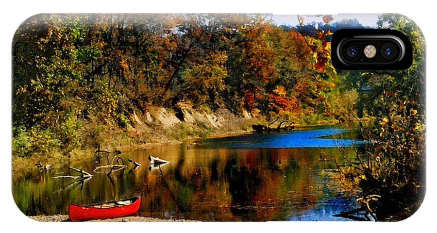 Autumn IPhone X Case featuring the photograph Canoe On The Gasconade River by Steve Karol