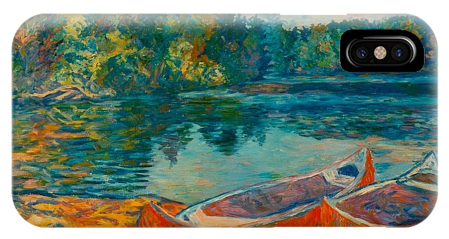 Landscape IPhone X Case featuring the painting Canoes At Mountain Lake by Kendall Kessler