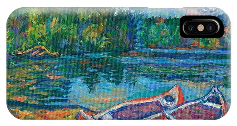 Landscape IPhone Case featuring the painting Canoes At Mountain Lake Sketch by Kendall Kessler