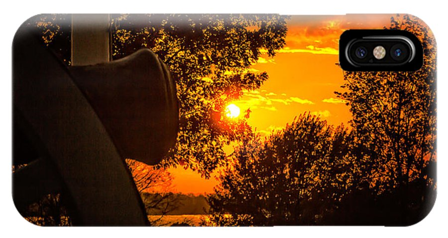 Arkansas River IPhone X Case featuring the photograph Canon Sunset by Larry McMahon