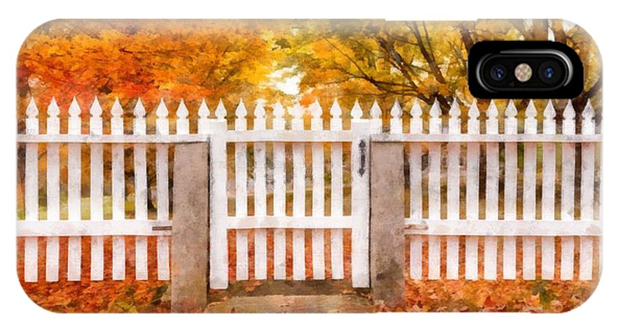 Fall IPhone X Case featuring the photograph Canterbury Shaker Village Picket Fence by Edward Fielding