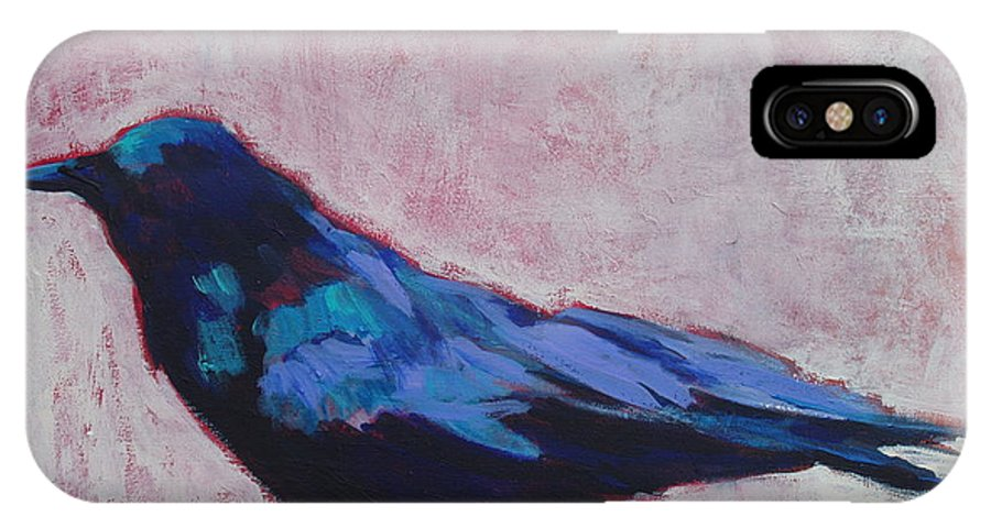 Bird IPhone X Case featuring the painting Canyon Crow by Virginia Dauth