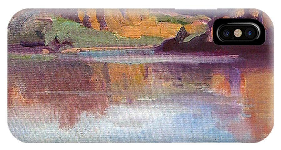 Landscape IPhone X Case featuring the painting Canyon Lake Of Arizona by Mitzi Lai