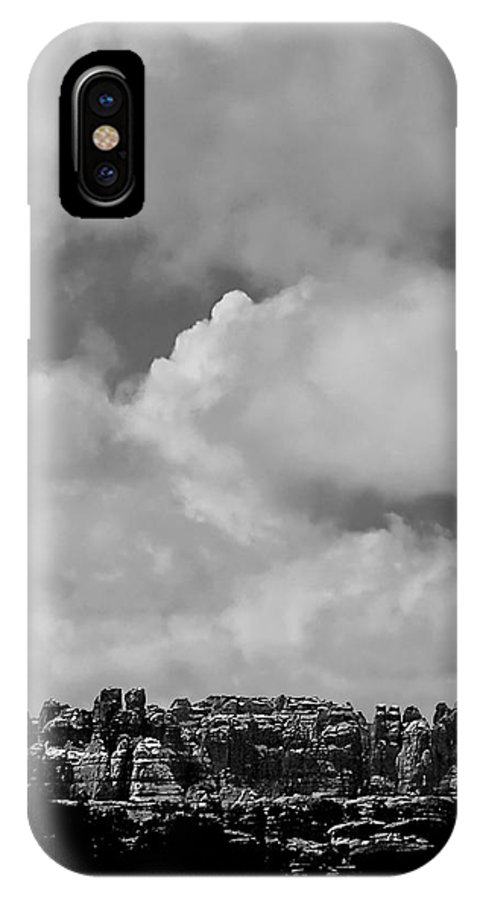 Black And White Photo IPhone X Case featuring the digital art Canyonlands Winter Vista by Tim Richards