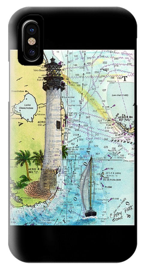 Cape IPhone X Case featuring the painting Cape Florida Lighthouse Nautical Chart Map Art by Cathy Peek
