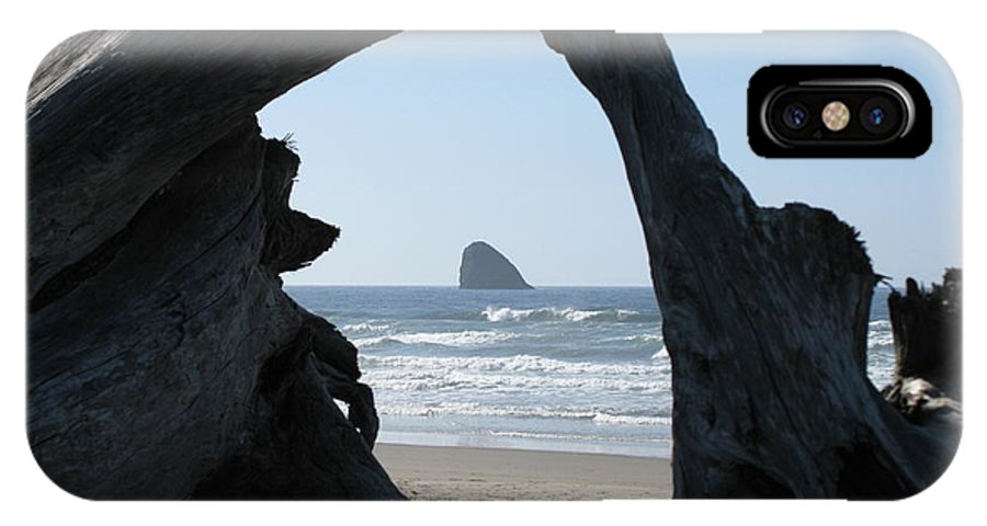 Beach IPhone X Case featuring the photograph Cape Meares Framed by DDs Outdoors