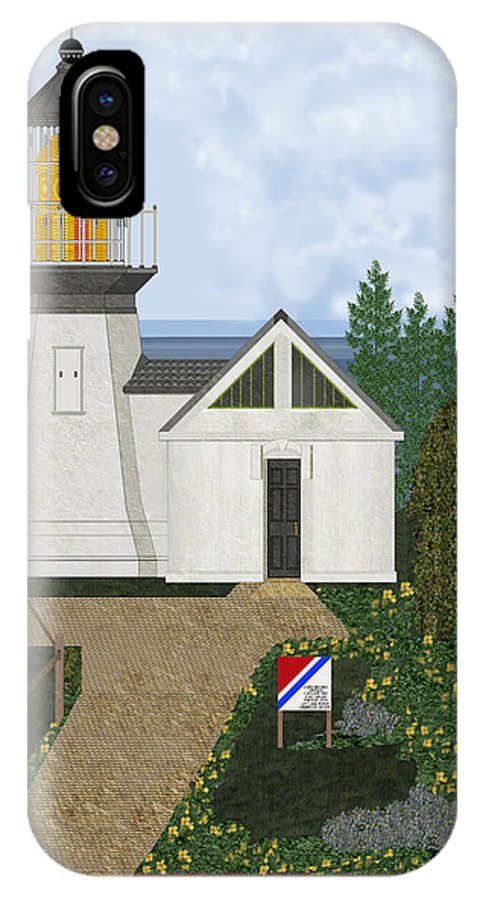 Cape Meares Lighthouse IPhone X Case featuring the painting Cape Meares Lighthouse April 2013 by Anne Norskog