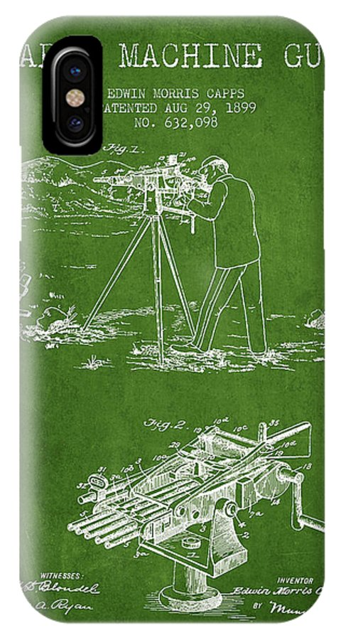 Machine Gun IPhone X / XS Case featuring the digital art Capps Machine Gun Patent Drawing From 1899 - Green by Aged Pixel