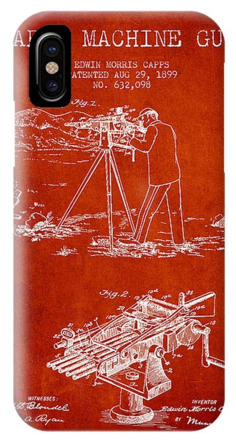 Machine Gun IPhone X / XS Case featuring the digital art Capps Machine Gun Patent Drawing From 1899 - Red by Aged Pixel