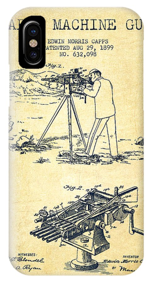 Machine Gun IPhone X / XS Case featuring the digital art Capps Machine Gun Patent Drawing From 1899 - Vintage by Aged Pixel