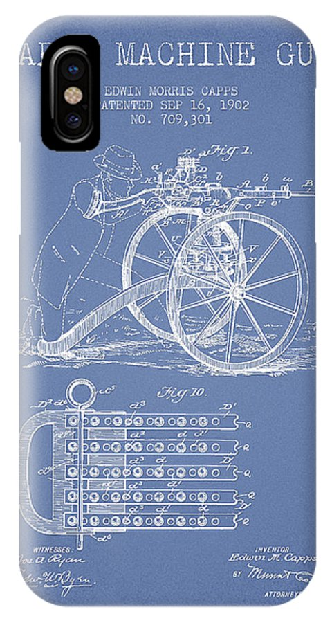 Machine Gun IPhone X / XS Case featuring the digital art Capps Machine Gun Patent Drawing From 1902 - Light Blue by Aged Pixel