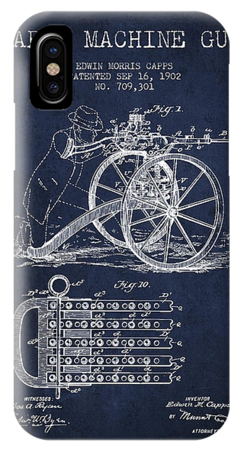 Machine Gun IPhone X / XS Case featuring the digital art Capps Machine Gun Patent Drawing From 1902 - Navy Blue by Aged Pixel