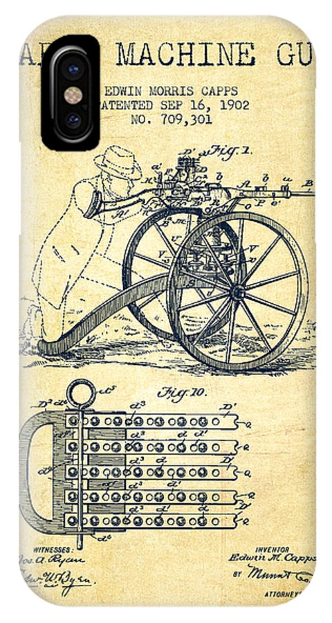 Machine Gun IPhone X / XS Case featuring the digital art Capps Machine Gun Patent Drawing From 1902 - Vintage by Aged Pixel