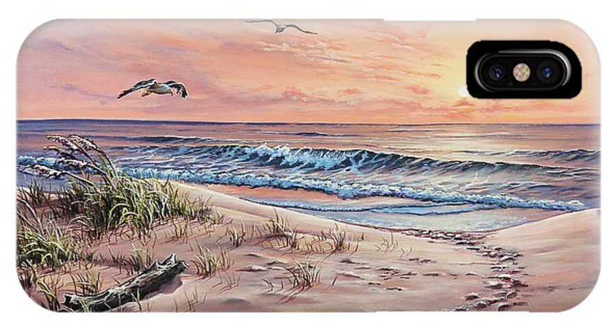Seascape IPhone X Case featuring the painting Captured In The Morning Light by Joe Mandrick