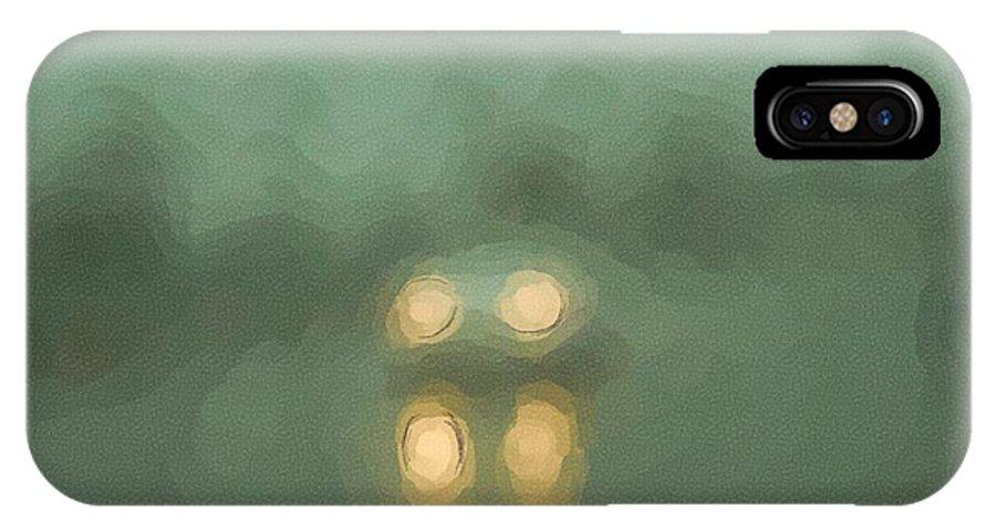Fog IPhone X Case featuring the digital art Car Lights In Fog And Rain by George Ferrell