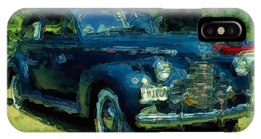 Antique IPhone X Case featuring the digital art Car Show Antique by George Ferrell