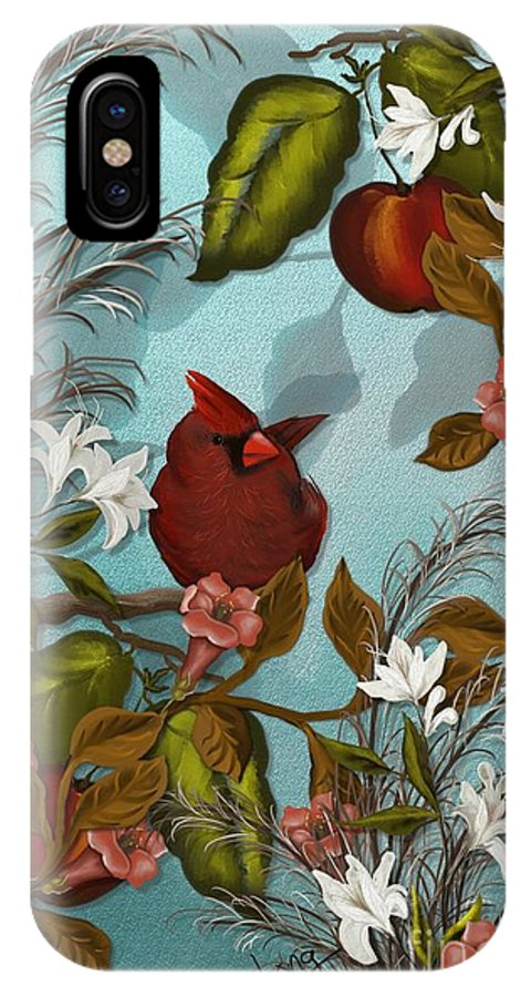 Bird IPhone X / XS Case featuring the painting Cardinal And Apples by Nancy Long