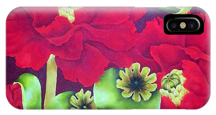 Poppy IPhone X Case featuring the painting Cardinal by Elizabeth Elequin