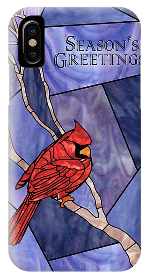Christmas IPhone X Case featuring the mixed media Cardinal by Paul Gioacchini