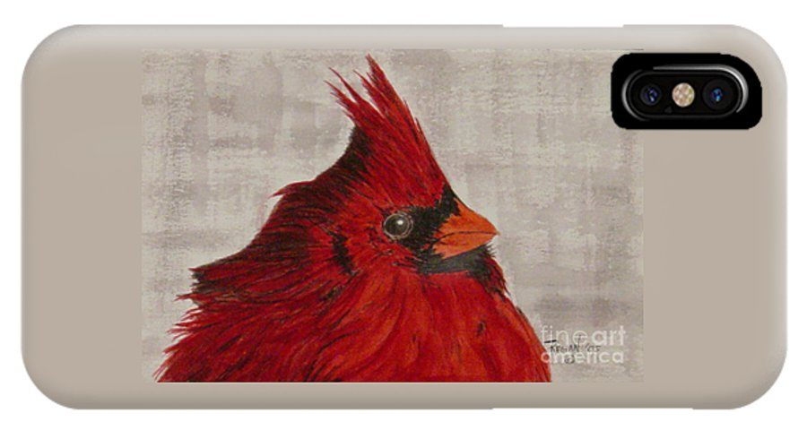 Cardinal IPhone X Case featuring the painting Cardinal by Regan J Smith