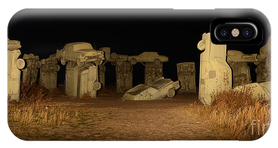 Carhenge IPhone X Case featuring the photograph Carhenge At Night by Bob Christopher