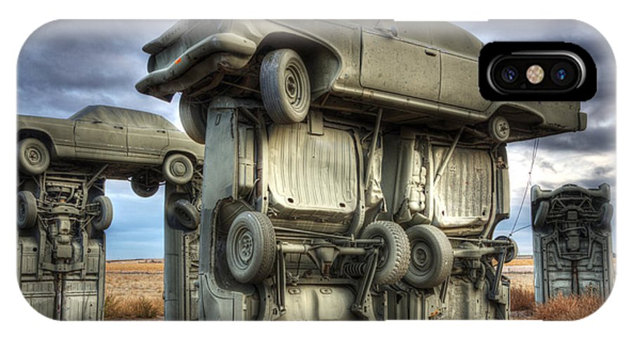 Carhenge IPhone X Case featuring the photograph Carhenge Automobile Art 2 by Bob Christopher