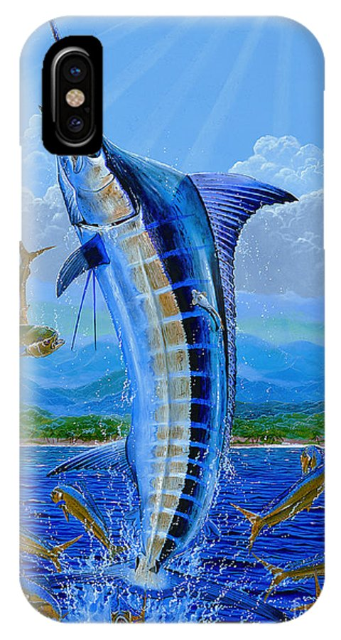 Blue Marlin IPhone X Case featuring the painting Caribbean Blue Off0041 by Carey Chen