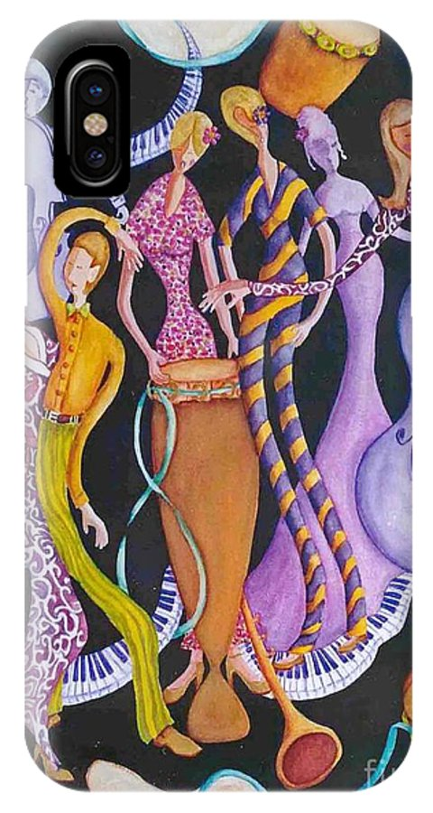 Dancers IPhone X Case featuring the painting Caribbean Calypso by Arleen Barton