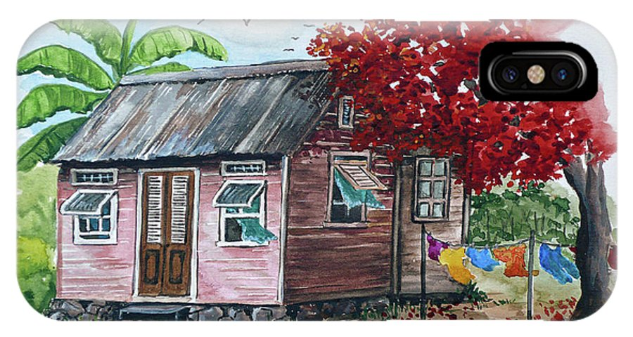 Caribbean House IPhone X Case featuring the painting Caribbean House by Karin Dawn Kelshall- Best