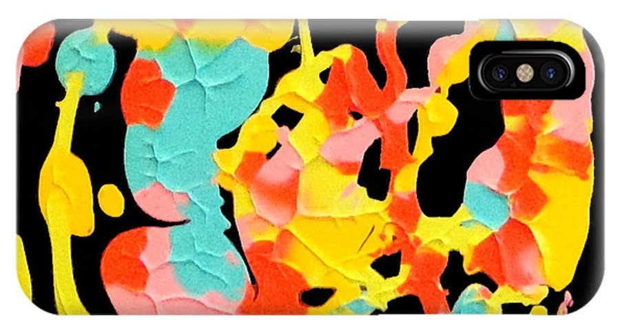 Action Color On A Black Ground IPhone X Case featuring the painting Carnival by David Chestnutt