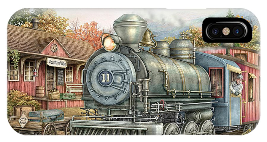 Train IPhone X Case featuring the painting Carolina Morning Train by Beverly Levi-Parker