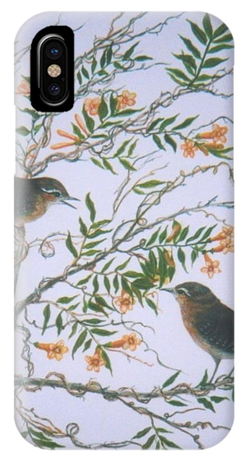 Bird; Flowers IPhone X Case featuring the painting Carolina Wren And Jasmine by Ben Kiger