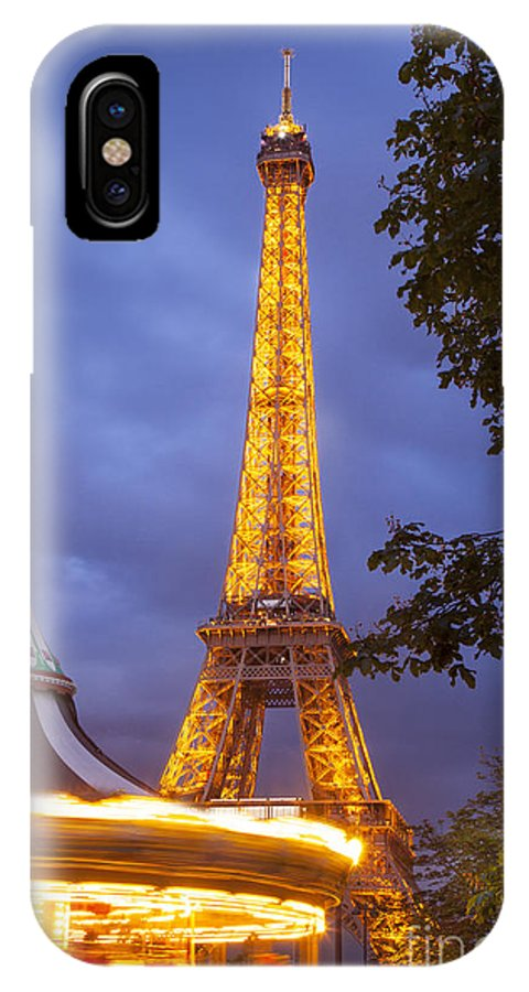 Architectural IPhone X Case featuring the photograph Carousel And Eiffel Tower by Brian Jannsen
