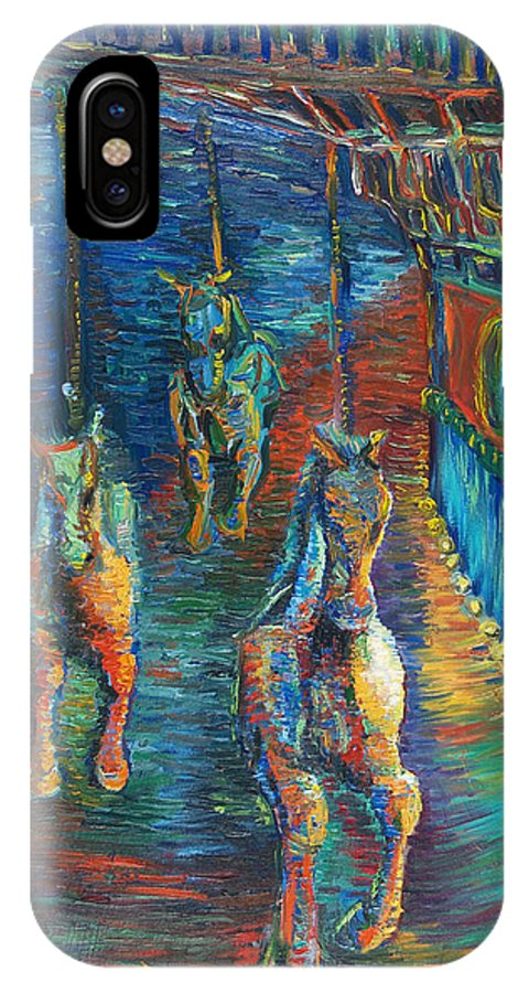 Horse Painting IPhone X Case featuring the painting Carousel At Night by Christine Cobden