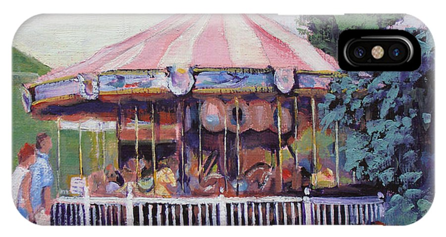 Carousel IPhone Case featuring the painting Carousel At Put-in-bay by Judy Fischer Walton