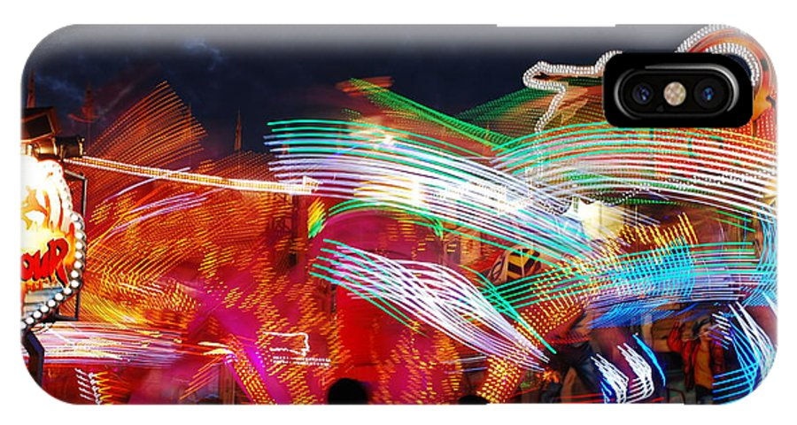 Merry-go-round IPhone X / XS Case featuring the photograph Carousel By Night by Karin Stein