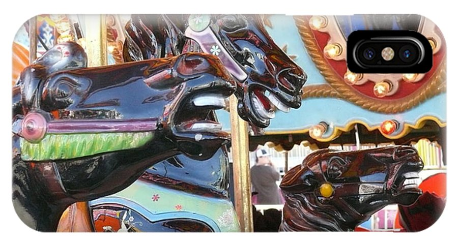 Fair IPhone X Case featuring the photograph Carousel Horses by Betsy Cotton