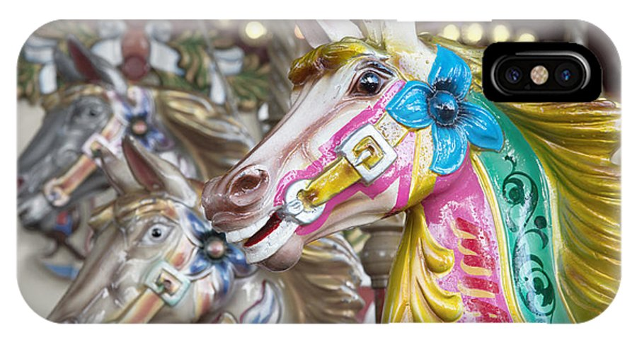 Carousel IPhone X Case featuring the photograph Carousel Horses by Jane Rix