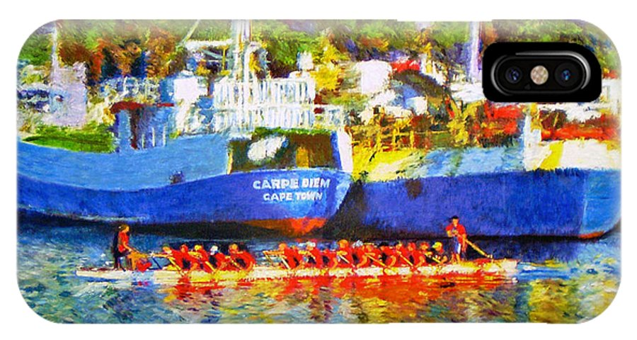 Boat IPhone X / XS Case featuring the painting Carpe Diem by Michael Durst