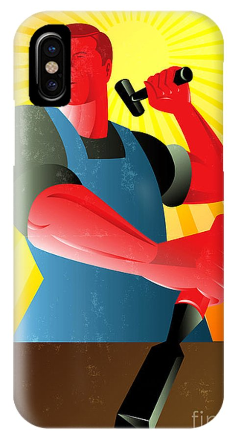 Carpenter IPhone X Case featuring the digital art Carpenter Striking Hammer Chisel Poster Retro by Aloysius Patrimonio