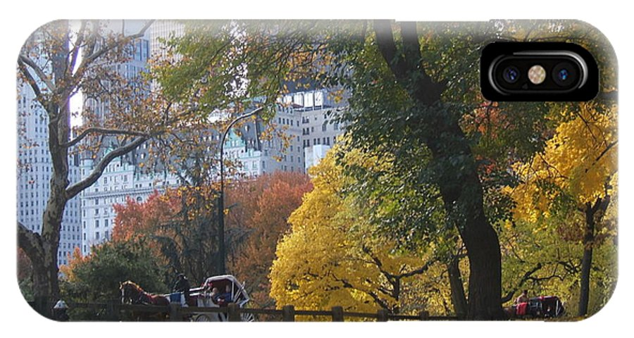 central Park IPhone Case featuring the photograph Carriage Ride Central Park In Autumn by Barbara McDevitt