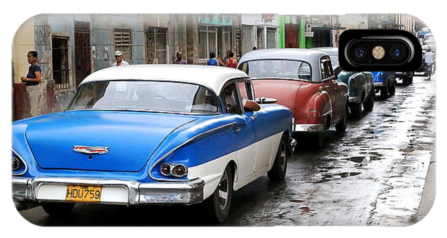 Cuba IPhone X Case featuring the photograph Cars In A Line by Marc Levine