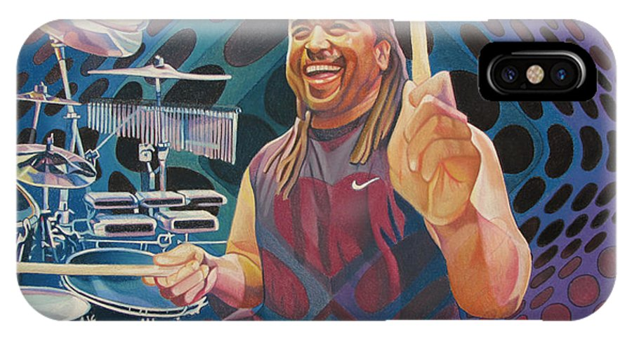 Carter Beauford IPhone X Case featuring the drawing Carter Beauford-op Series by Joshua Morton