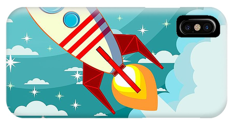 Fiction IPhone X Case featuring the digital art Cartoon Rocket Taking Off Against The by Alekseiveprev