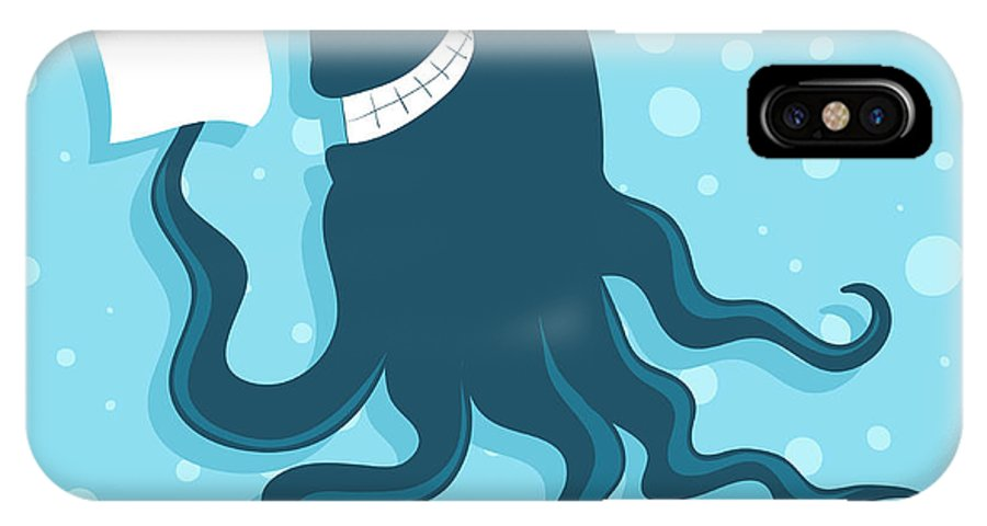 College IPhone X Case featuring the digital art Cartoon Smiling Octopus With Paper In by Marinka Alisen