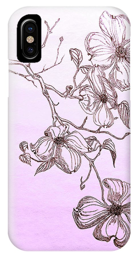 Dogwood IPhone X Case featuring the drawing Cascade Dogwood by Jeremiah Welsh