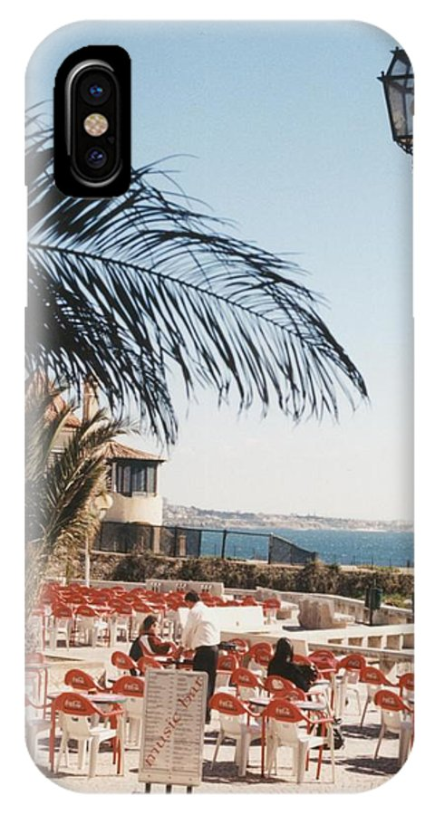 Cafmusic IPhone X Case featuring the photograph Cascais Cafe by Ted Denyer
